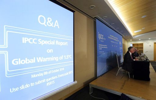 Leaders of the Intergovernmental Panel on Climate Change, IPCC, hold a press conference in Incheon, South Korea, Monday, Oct. 8, 2018. Preventing an extra single degree of heat could make a life-or-death difference in the next few decades for multitudes of people and ecosystems on this fast-warming planet, an international panel of scientists reported Sunday. But they provide little hope the world will rise to the challenge.