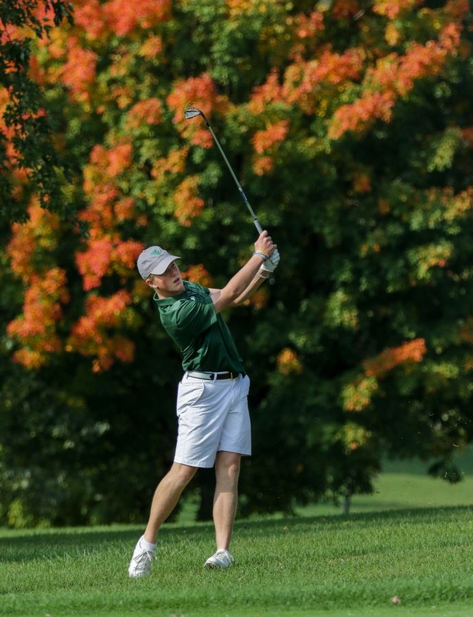 Waubonsie Valley's Will Troy hits the ball on the first fairway at South Elgin boys golf sectional in Bartlett on Monday.