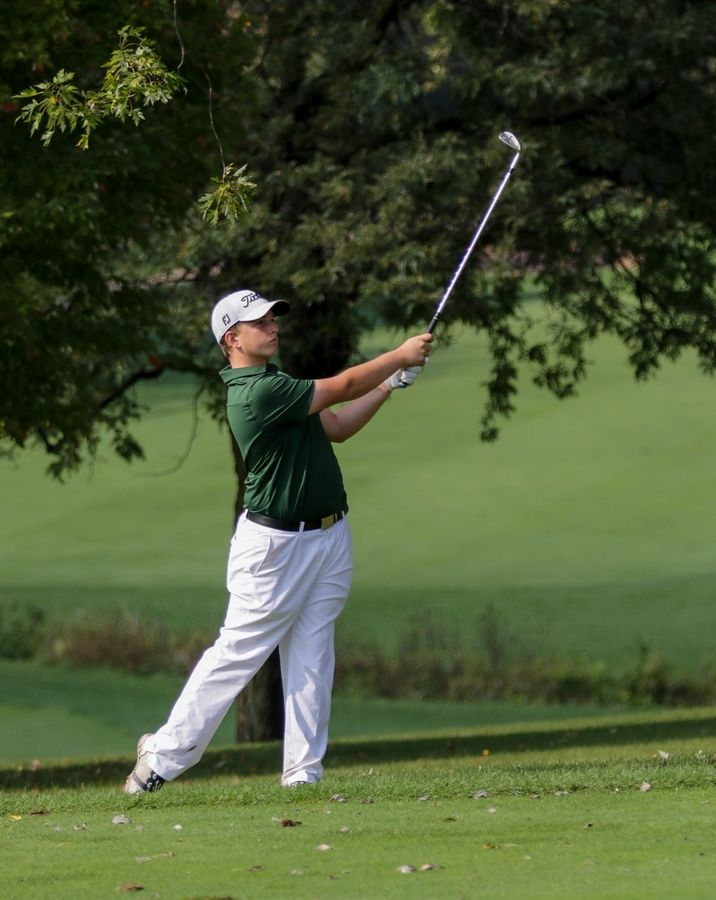Jacob Fritz of Waubonsie Valley on the first fairway at South Elgin boys golf sectional in Bartlett on Monday.