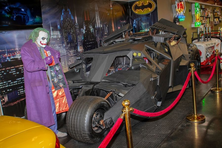 "A newer display at Volo Auto Museum is The Tumbler, a half-tank, half-monster truck that was the ride of choice for Batman in Christopher Nolan's ""The Dark Knight"" movie."