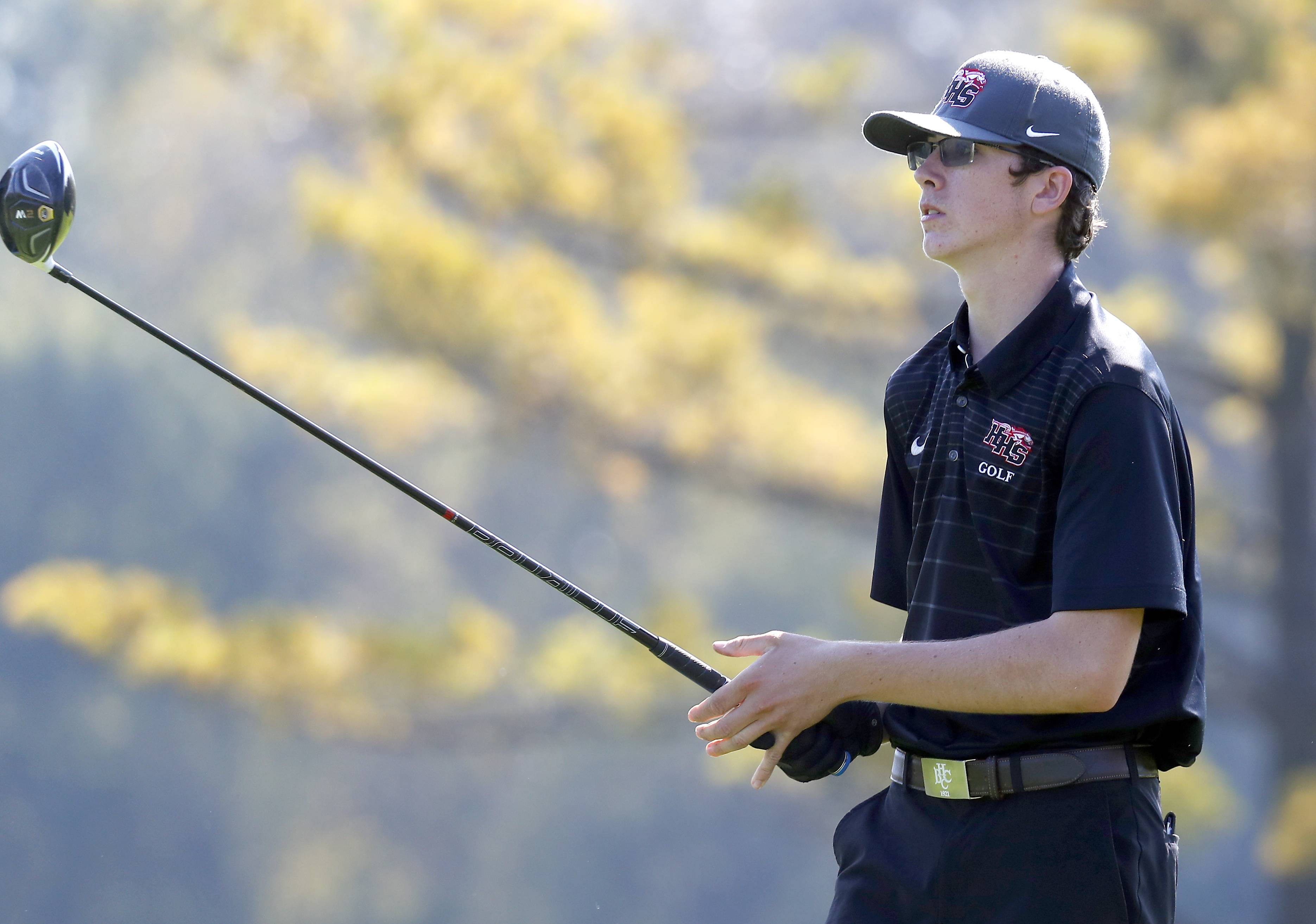 Huntley's Jack Wagner Tuesday during boys sectional golf at Palatine Hills
