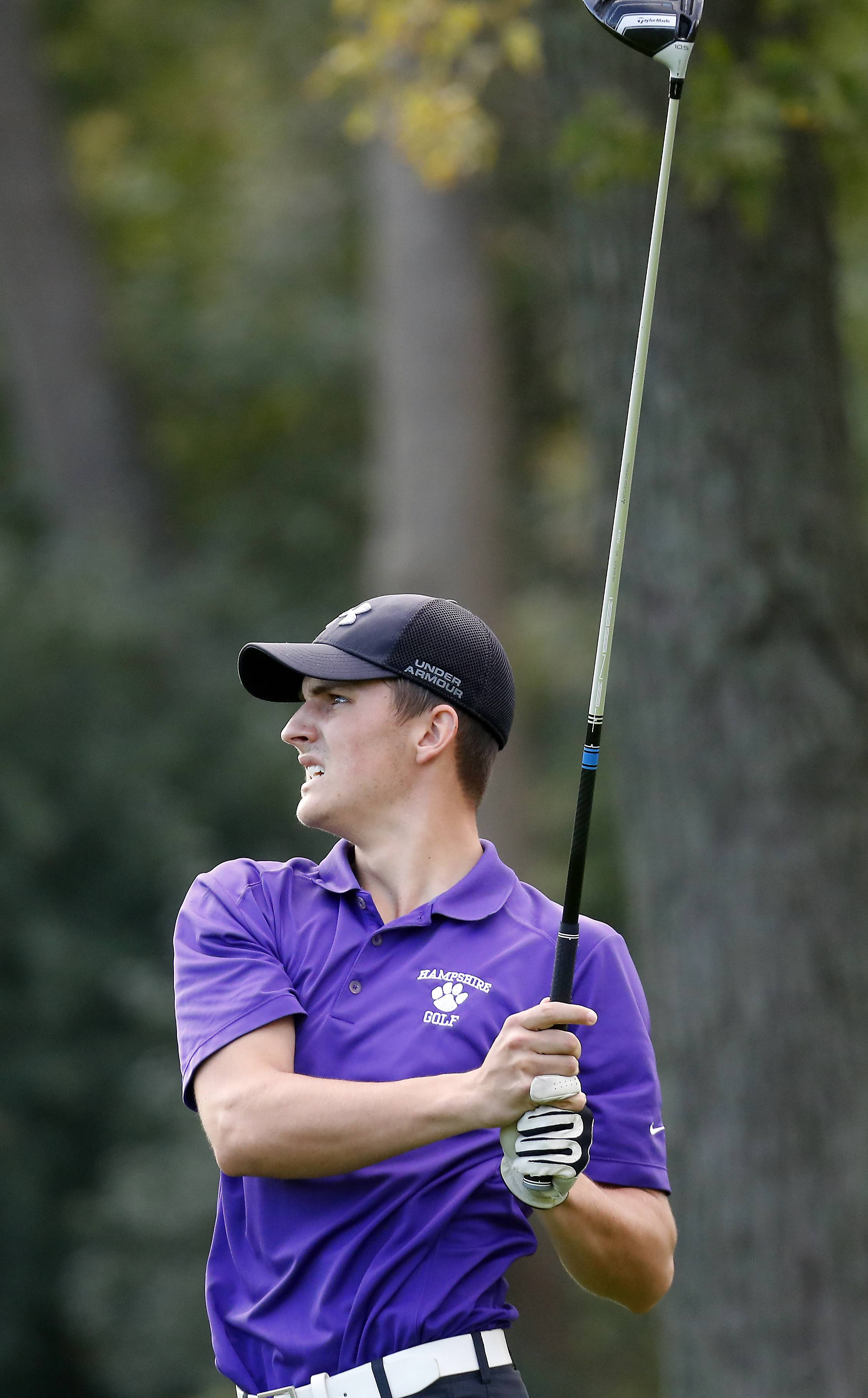 Hampshire's Craig Bracke Tuesday during boys sectional golf at Palatine Hills