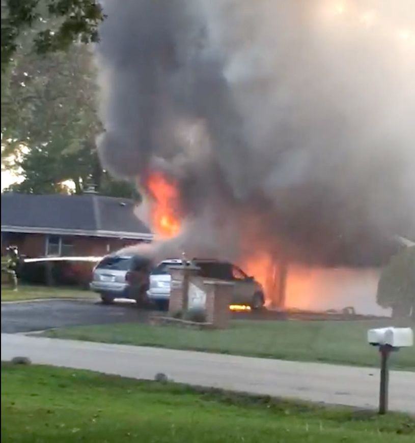 Jeanine McEnroe caught on video the start of a fire at a house across the street from her on Crest Street in Elk Grove Village Wednesday evening.