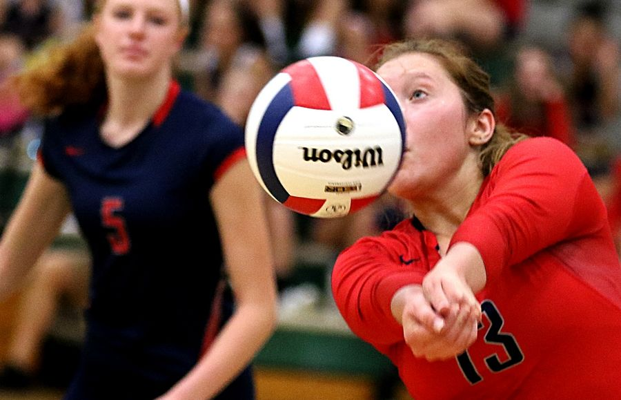 South Elgin's Emily Wellman passes the ball during varsity girls volleyball at Bartlett on Wednesday evening.