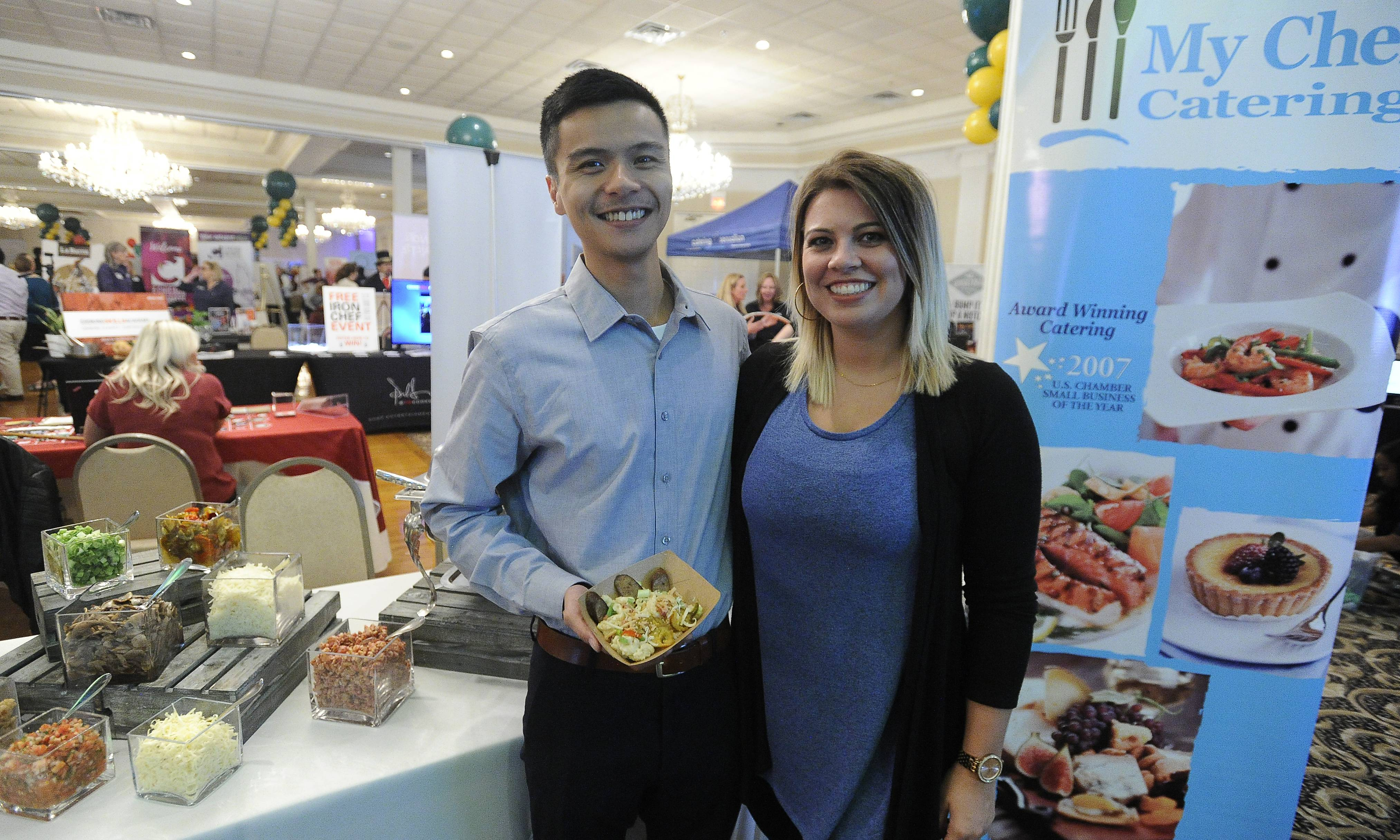 Brittany Wallin with Waldo Castro of My Chef from Naperville took part in the hospitality expo Thursday.