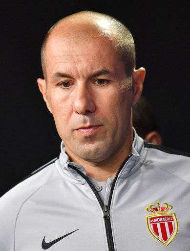 FILE - In this Oct. 2 2018 file photo, A.S Monaco head coach Leonardo Jardim arrives for a press conference, a day ahead of the Champions League group A soccer match between Borussia Dortmund and AS Monaco in Dortmund, Germany. Monaco has fired coach Leonardo Jardim following a run of four straight losses that has left the team in the French league's relegation zone and in last place in its Champions League group.