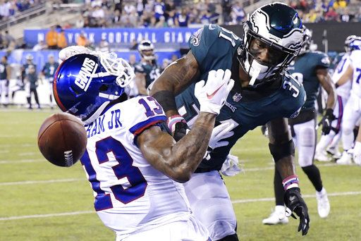the latest 81b76 41b8a Beckham makes scene, Giants drop to 1-5 with loss to Eagles