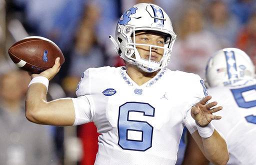 North Carolina quarterback Cade Fortin (6) passes against Virginia Tech during the first half of an NCAA college football game in Chapel Hill, N.C., Saturday, Oct. 13, 2018.