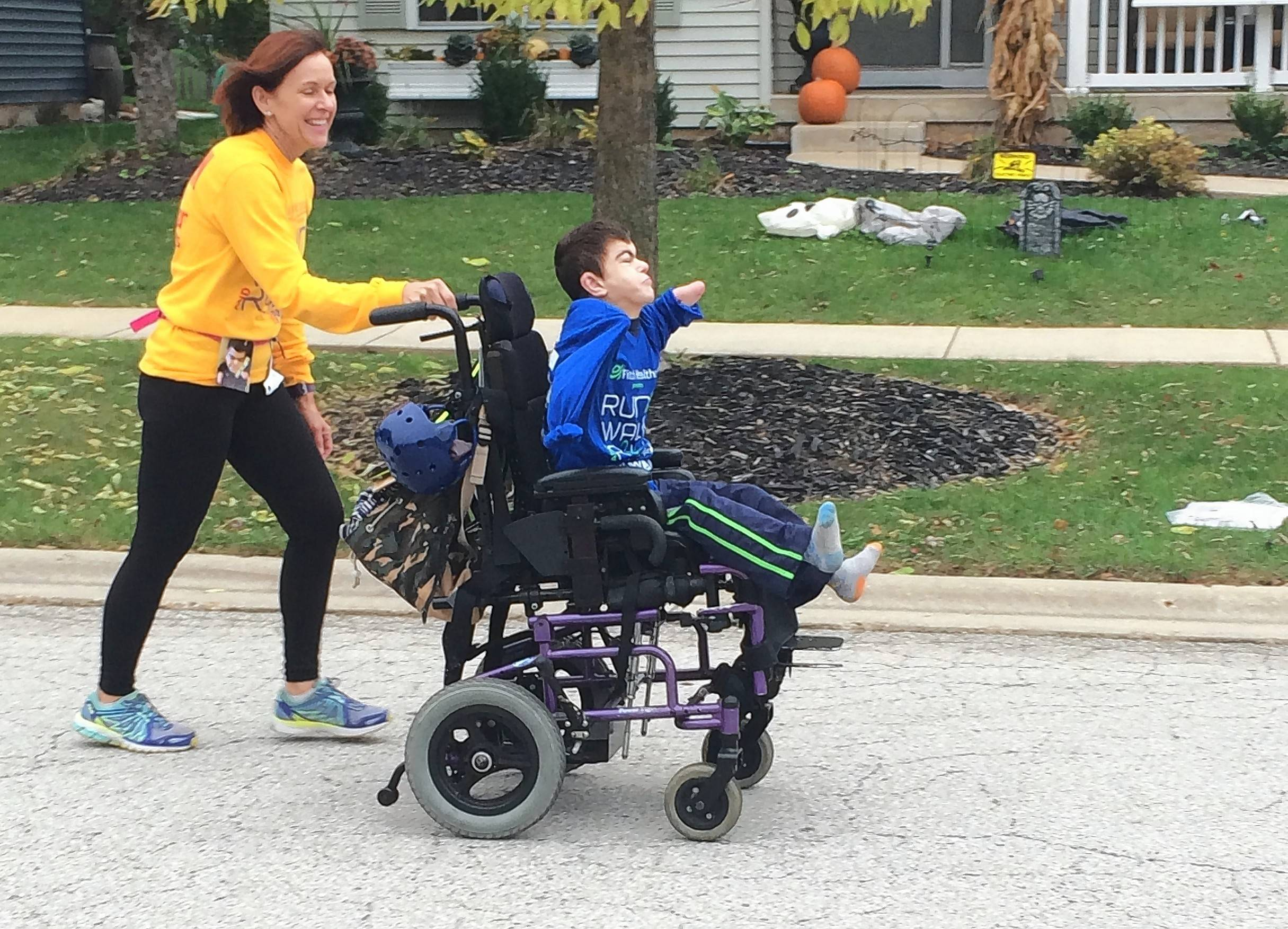 Becky Stewart of Elburn will join her son Tyler in the sixth annual Marklund Run, Walk & Roll on Sunday, Oct. 21, pushing him in a racing wheelchair. Tyler is a resident of the Marklund Hyde Center in Geneva.