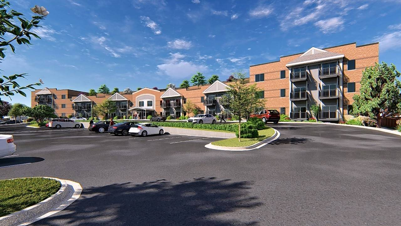 A rendering shows the proposed Blue Sky Residences, a 67-unit apartment building for seniors on the 900 block of North Avenue between Second and Third avenues in Des Plaines.