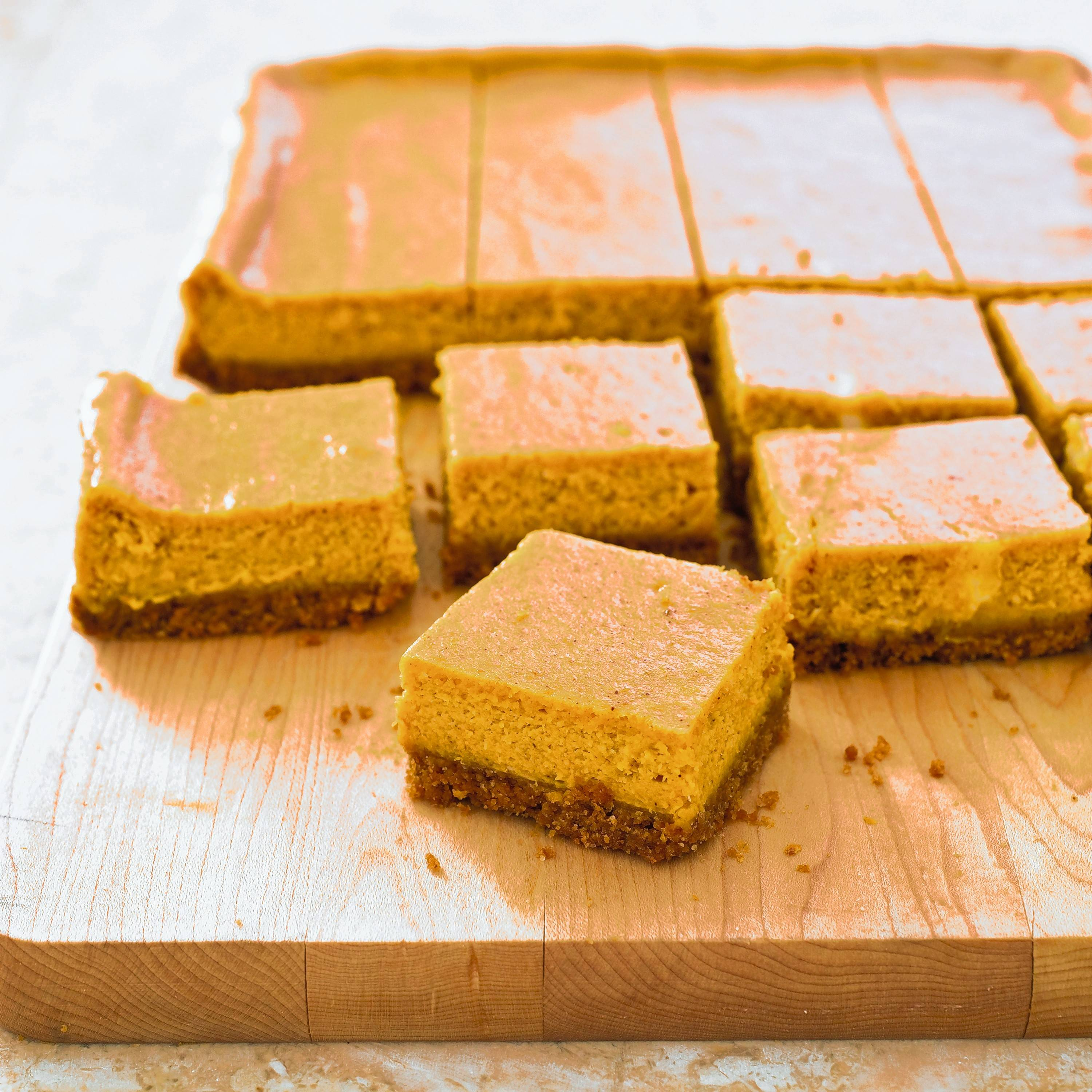 Pumpkin cheesecake bars are a portable, seasonal treat.