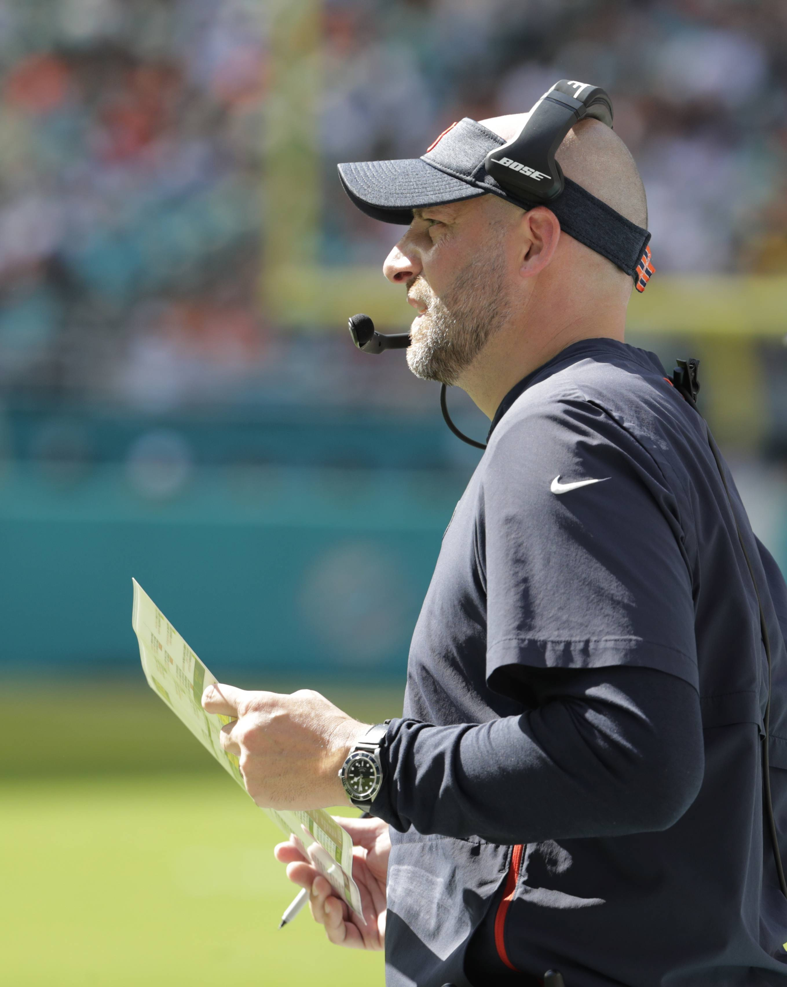 Chicago Bears head coach Matt Nagy watches his team from the sidelines, during the second half of an NFL football game against the Miami Dolphins, Sunday, Oct. 14, 2018, in Miami Gardens, Fla. (AP Photo/Lynne Sladky)