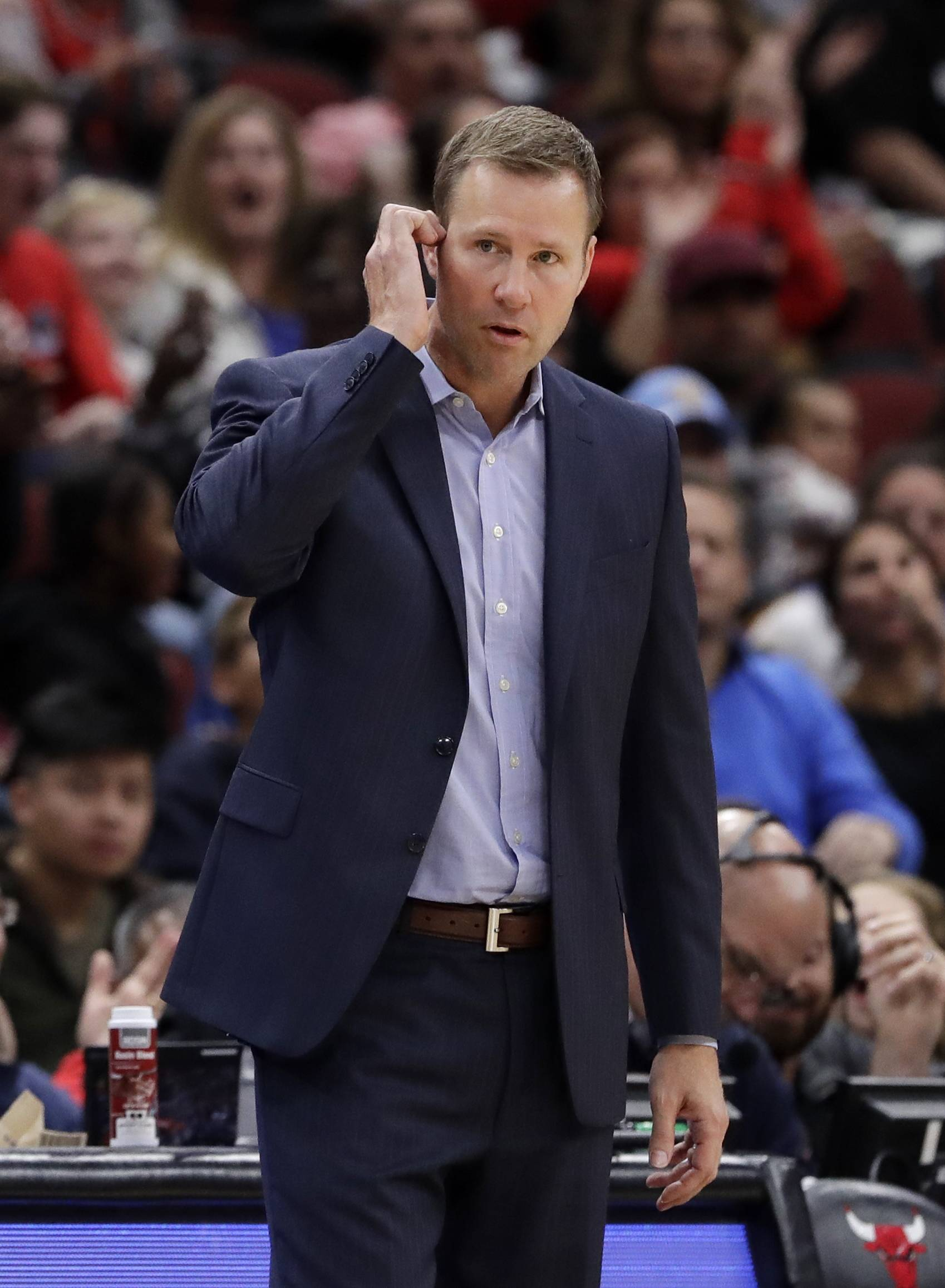 Chicago Bulls coach Fred Hoiberg watches his team during the second half of an NBA preseason basketball game against the Denver Nuggets, Friday, Oct. 12, 2018, in Chicago. (AP Photo/Nam Y. Huh)