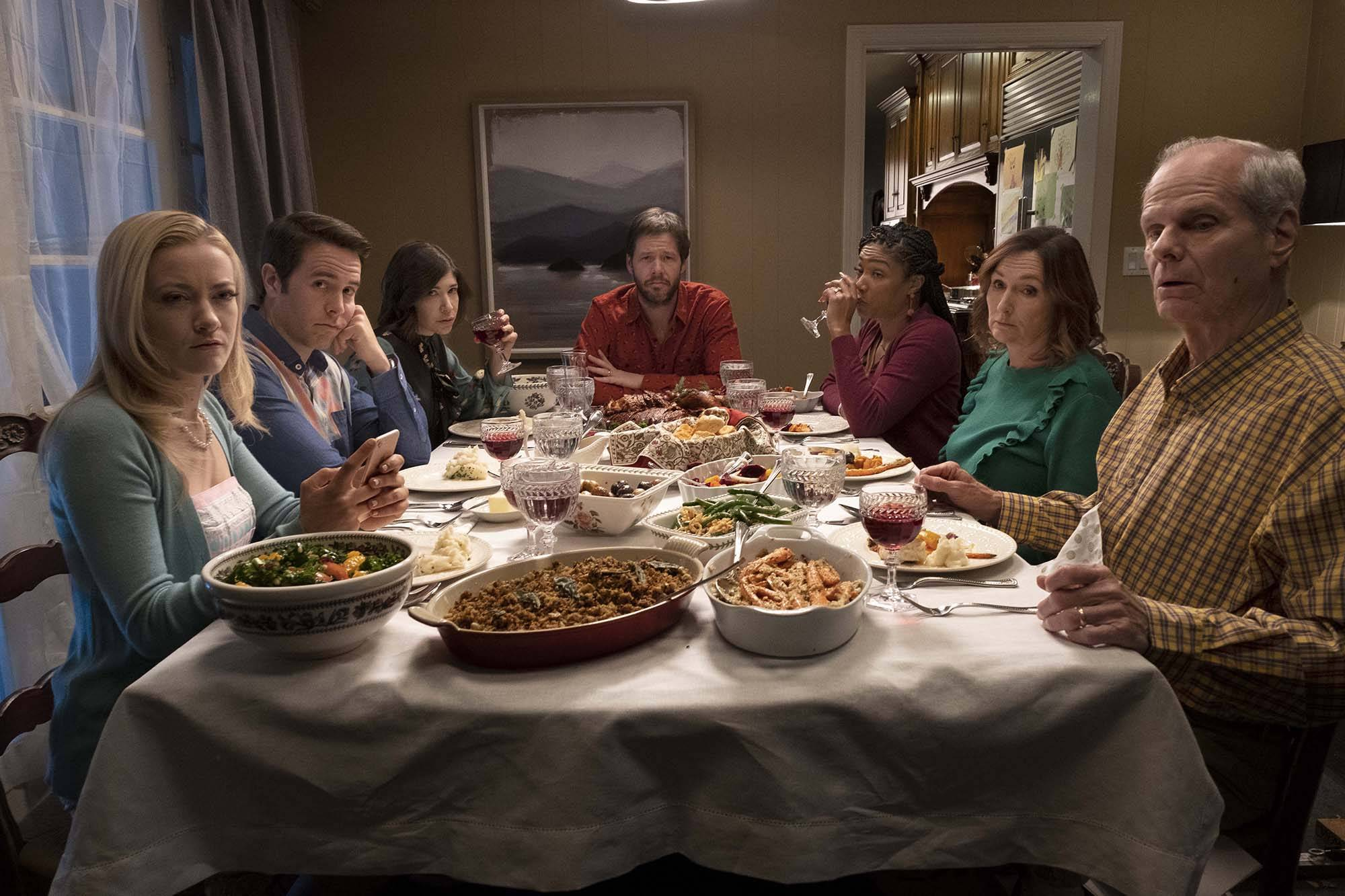 "Thanksgiving dinner gets ugly for family members on different sides of the political spectrum in ""The Oath."""