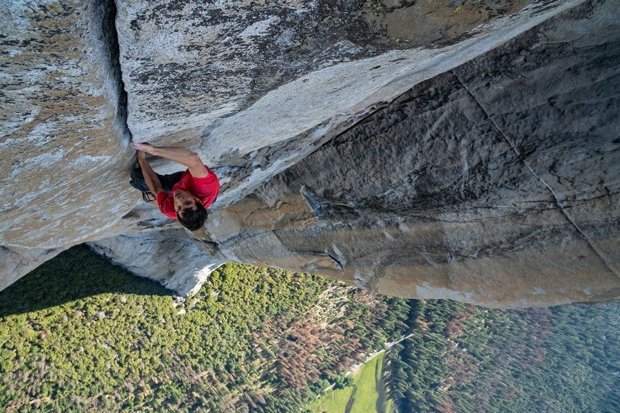 "The documentary ""Free Solo"" follows Alex Honnold as he attempts a free solo ascent of El Capitan's Freerider in Yosemite National Park in California."
