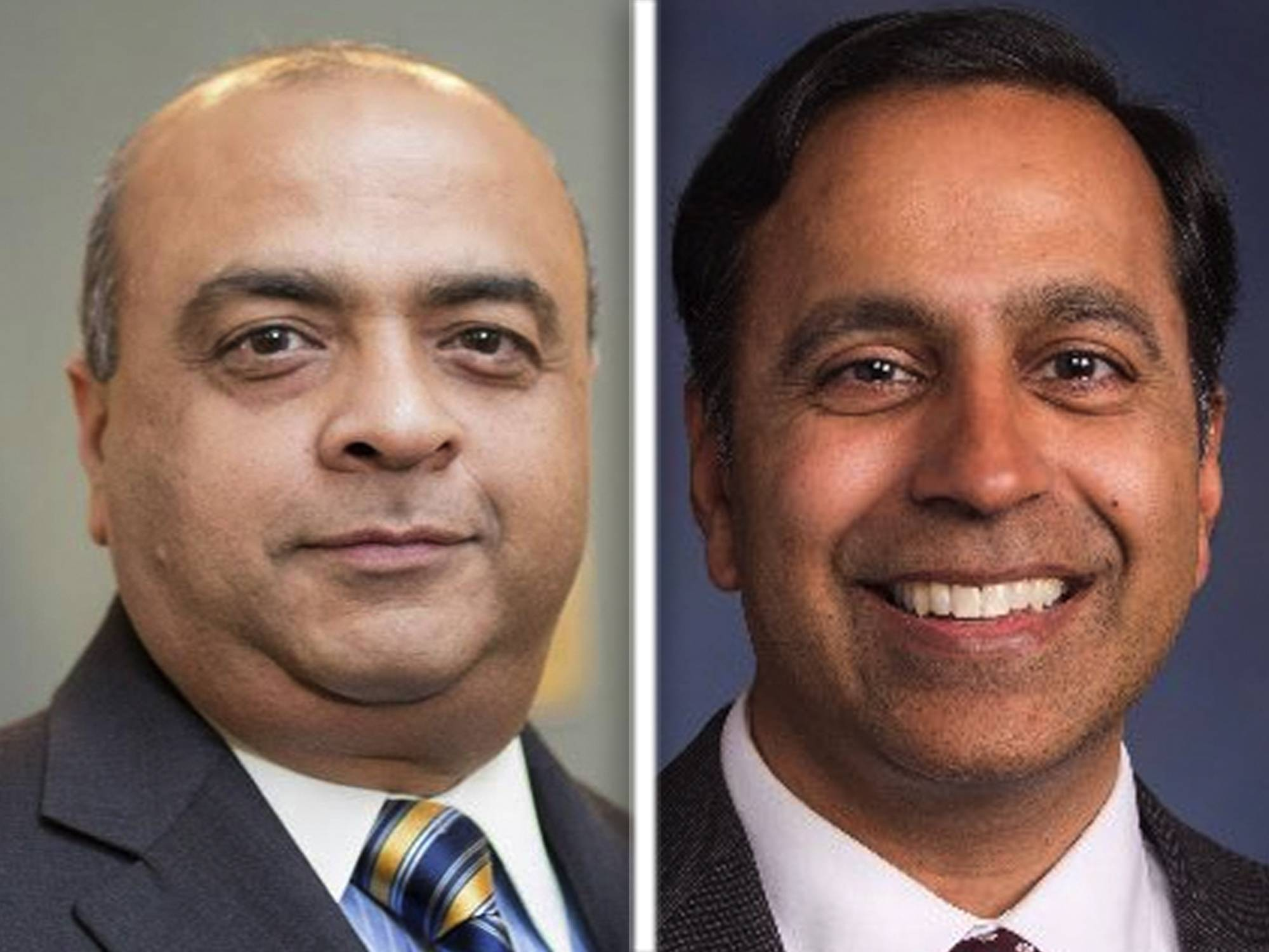 Republican challenger Jitendra Diganvker, left, and Democratic incumbent Raja Krishnamoorthi are candidates for the 8th Congressional District seat.