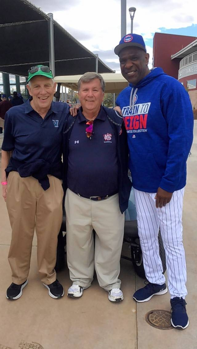 Andre Dawson shares a moment during spring training this year with former Cubs trainer John Fierro, middle, and former Cubs team surgeon Michael Schafer, who passed away this week.