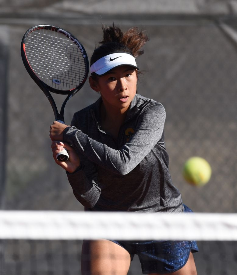 Stevenson's Ellen Ma plays a ball at the net while competing with West Aurora's Maria Goheen during the girls state tennis tournament at Schaumburg Thursday.