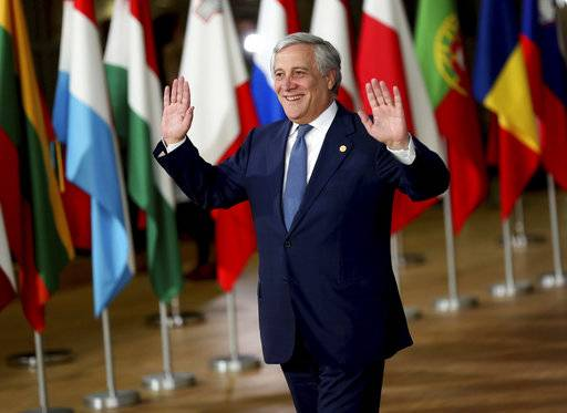 "European Parliament President Antonio Tajani arrives for an EU summit in Brussels, Wednesday, Oct. 17, 2018. European Union leaders are converging on Brussels for what had been billed as a ""moment of truth"" Brexit summit but which now holds little promise for a breakthrough."