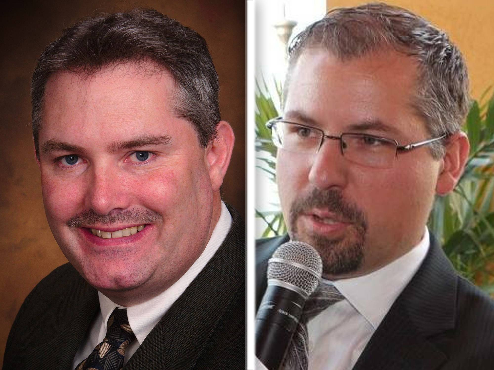Republican David Rickert, left, and Democrat Jason Snelson are candidates for Kane County treasurer