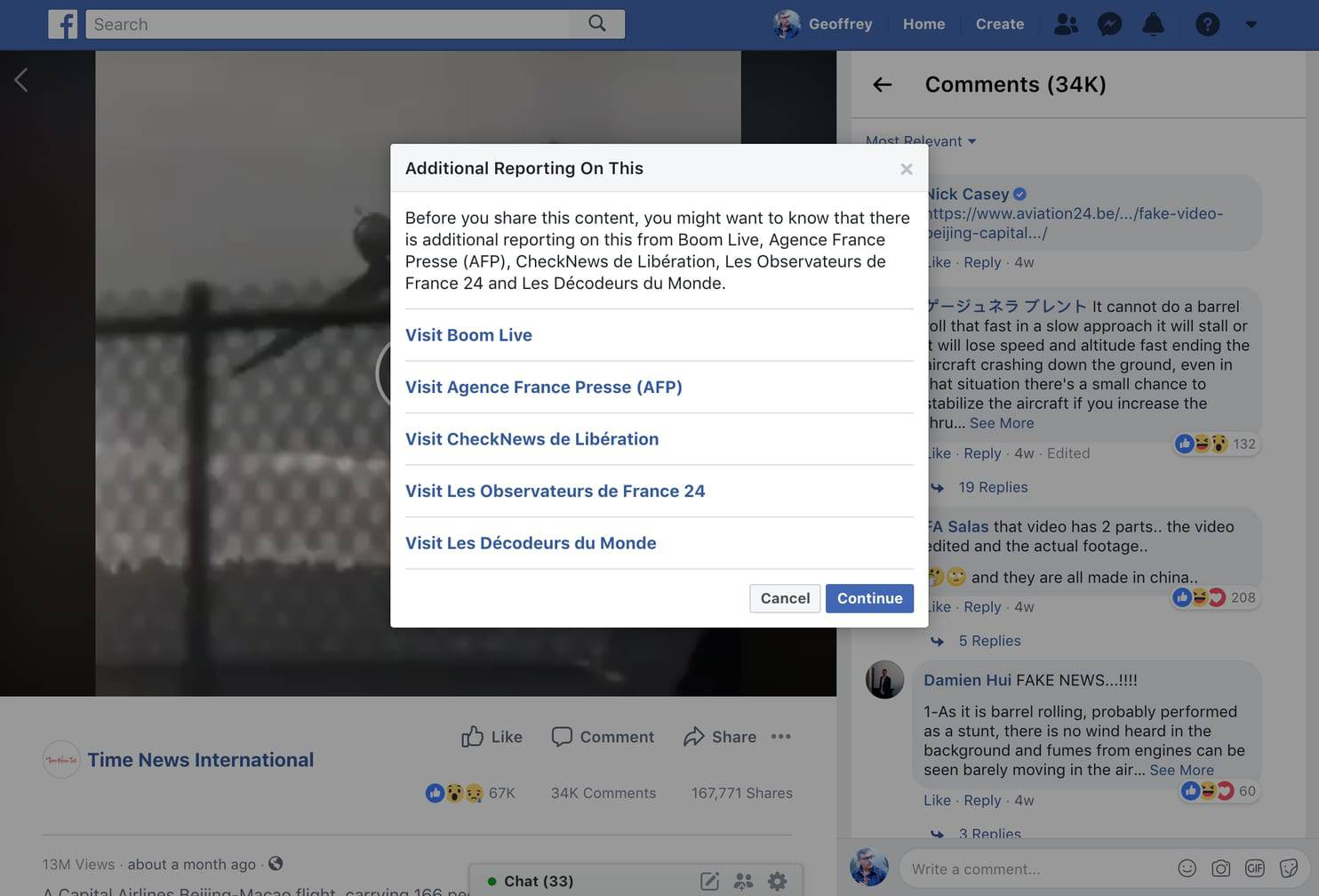 Facebook added a warning label to the video of a spinning plane after fact checkers called it false.
