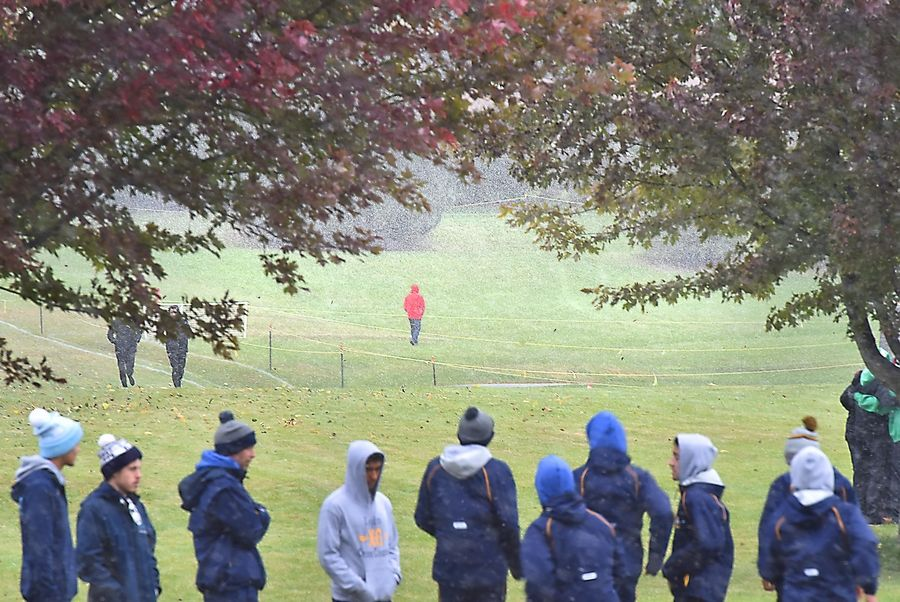 Snow fills the air before the start of the Class 3A Lake Park boys cross country regional meet Saturday in Roselle.