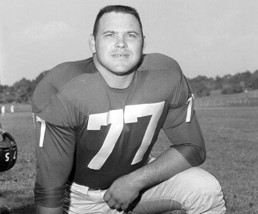 FILE - This Sept. 17, 1960 file photo shows New York Giants Dick Modzelewski. Modzelewski, a star defensive tackle for the New York Giants in the 1950s and '60s, has died at 87. The team said in a statement Saturday, Oct. 20, 2018 he died Friday at his home in Eastlake, Ohio, outside Cleveland. No cause was given. (AP Photo, File)