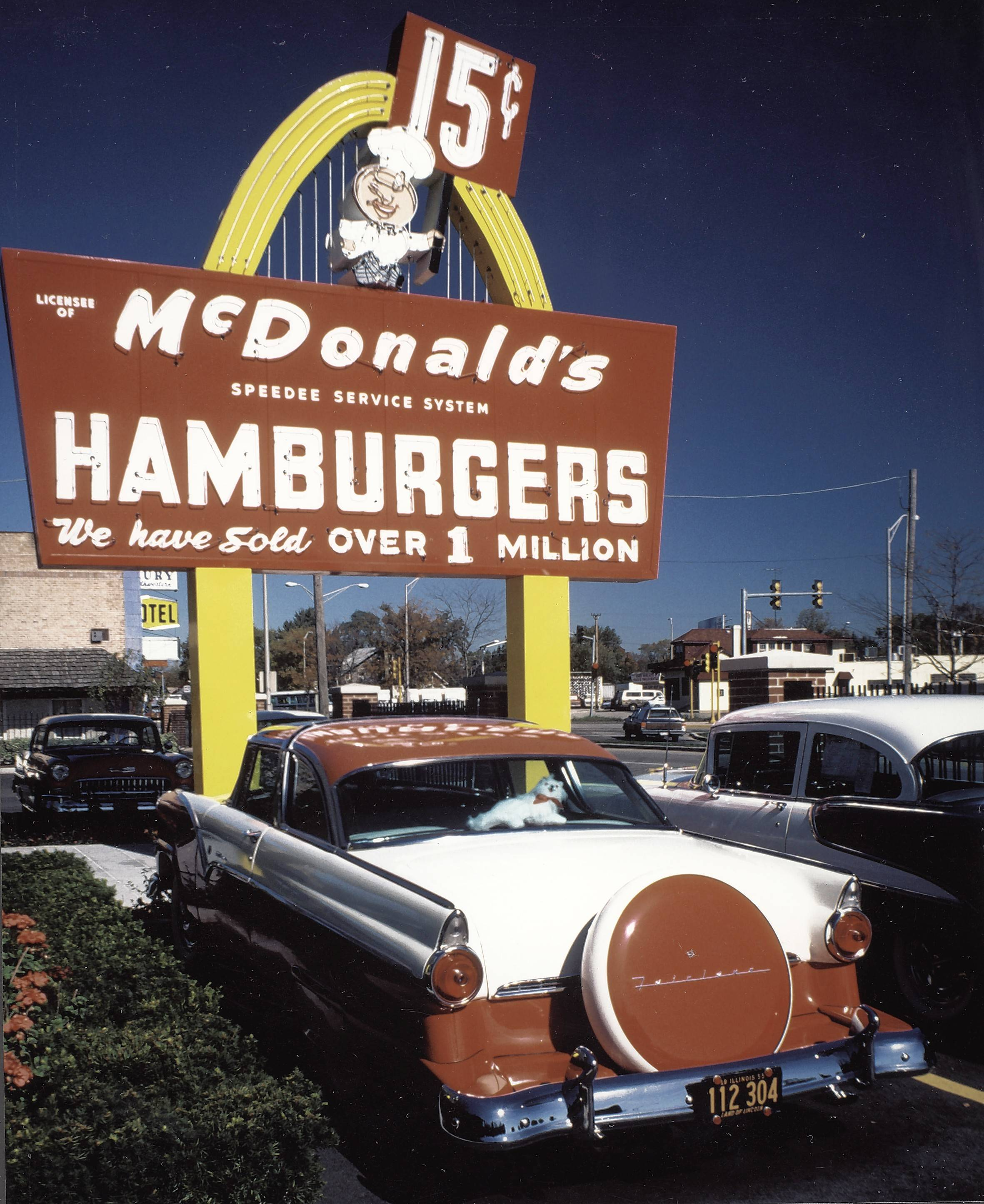 Restored original McDonald's sign in front of the reconstructed franchise No. 1 building in 1998. The museum was torn down earlier this year.