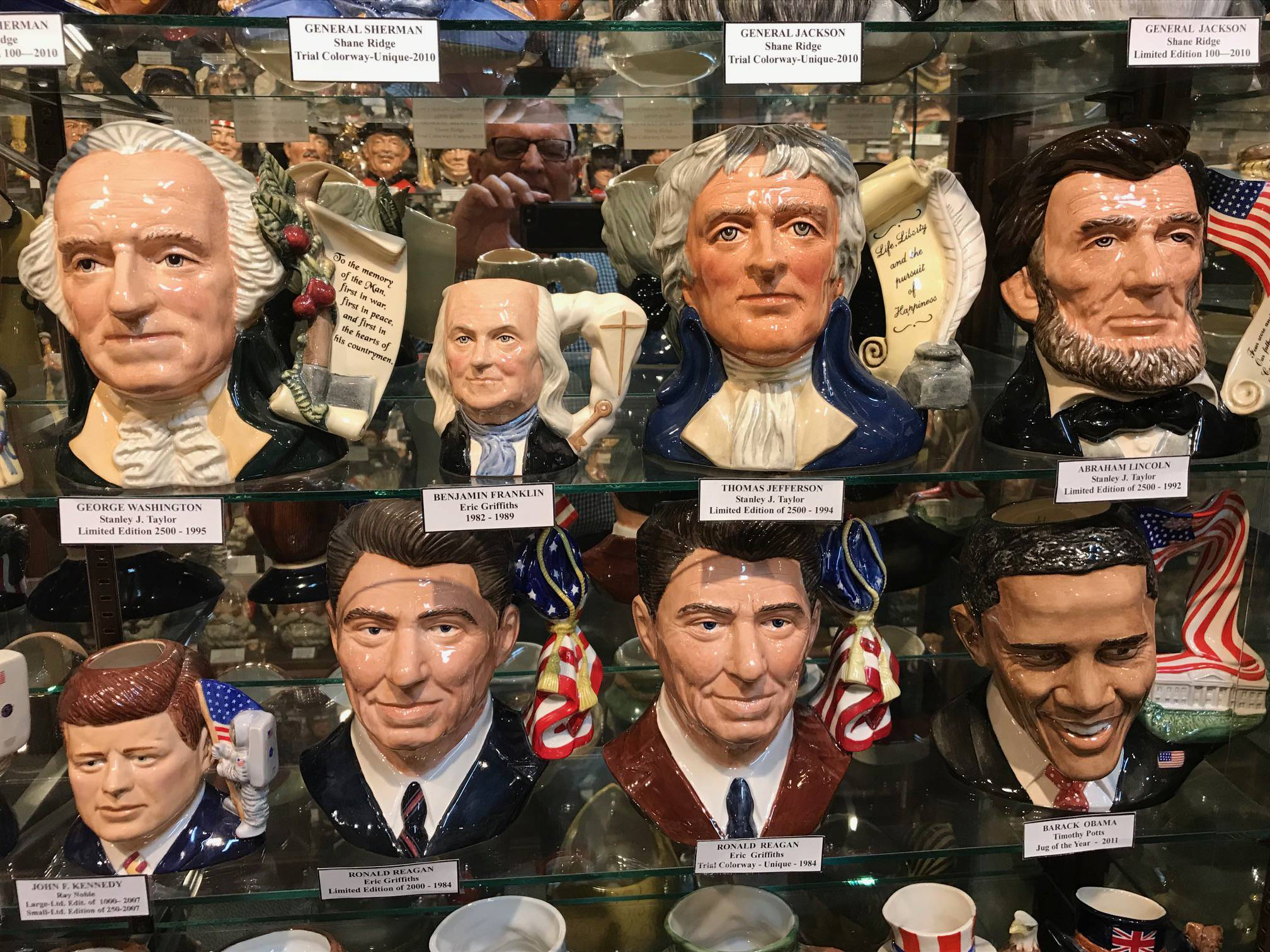 Presidential jugs, including Abraham Lincoln, Ronald Reagan and Barack Obama, can be found at the American Toby Jug Museum in Evanston, Ill.