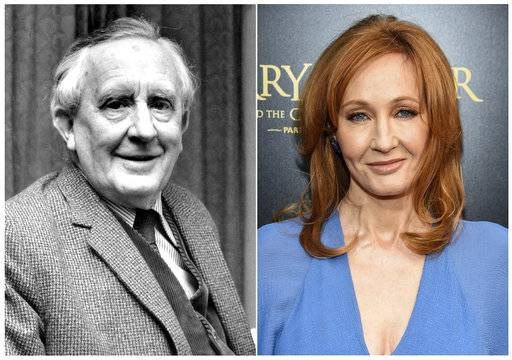 "J.R.R. Tolkien, author of ""The Lord of the Rings,"" series in 1967, left, and J. K. Rowling, author of the ""Harry Potter"" series at the ""Harry Potter and the Cursed Child"" Broadway opening in New York on April 22, 2018. The effort to discover America's best-loved novel - and promote reading - will end with the winner announced on Tuesday's finale of PBS' ""The Great American Read."""