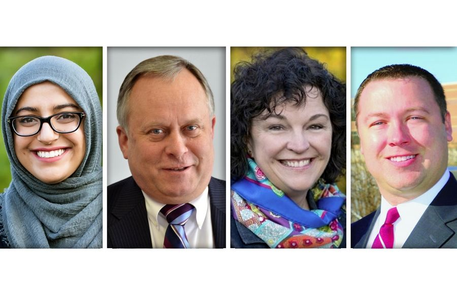 From left, Democrat Hadiya Afzal, Republican Grant Eckhoff, Democrat Mary FitzGerald Ozog and Republican Christopher Zaruba are candidates for two District 4 seats on the DuPage County Board.