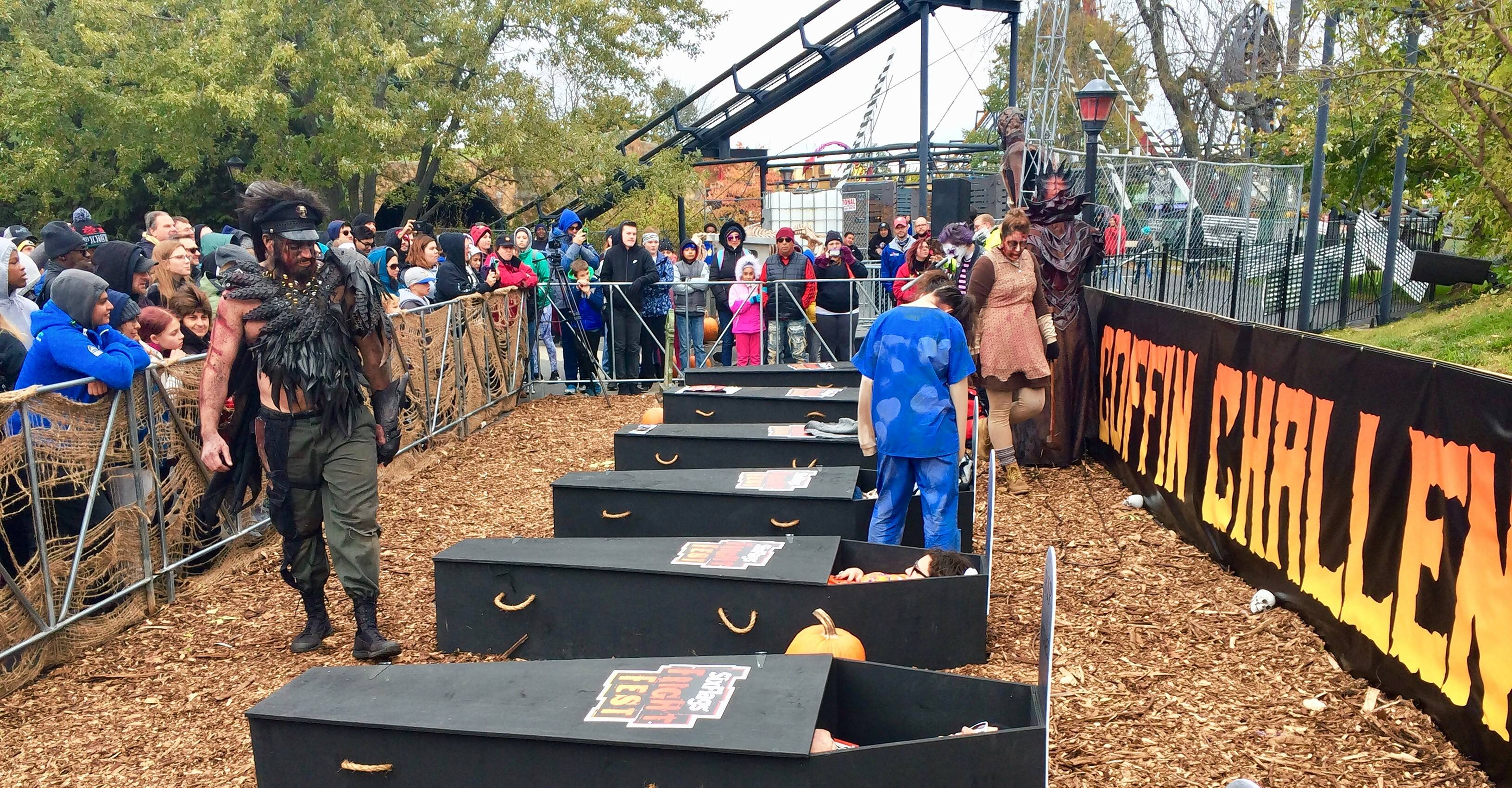 Six participants emerged from their coffins as winners at the end of a contest at Six Flags Great America in Gurnee. This is the start of the 30-hour coffin challenge at 1 p.m. Saturday.