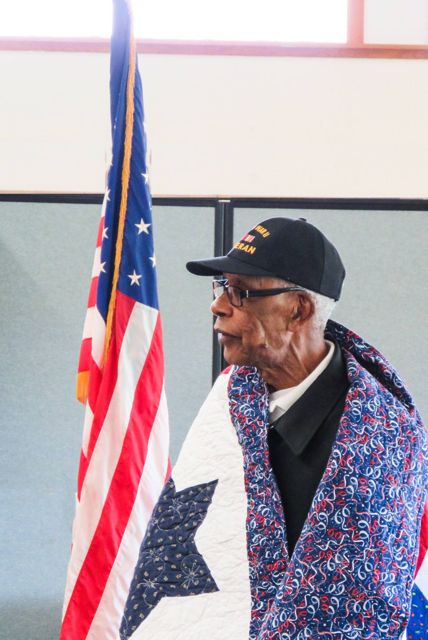 World War II veteran Melvin Copeland, 94, of Elgin, a World War II veteran, received his Quilt of Valor during a brief ceremony in August. The quilts are made by volunteers at Christ the Lord Lutheran Church in Elgin, who meet once a month.