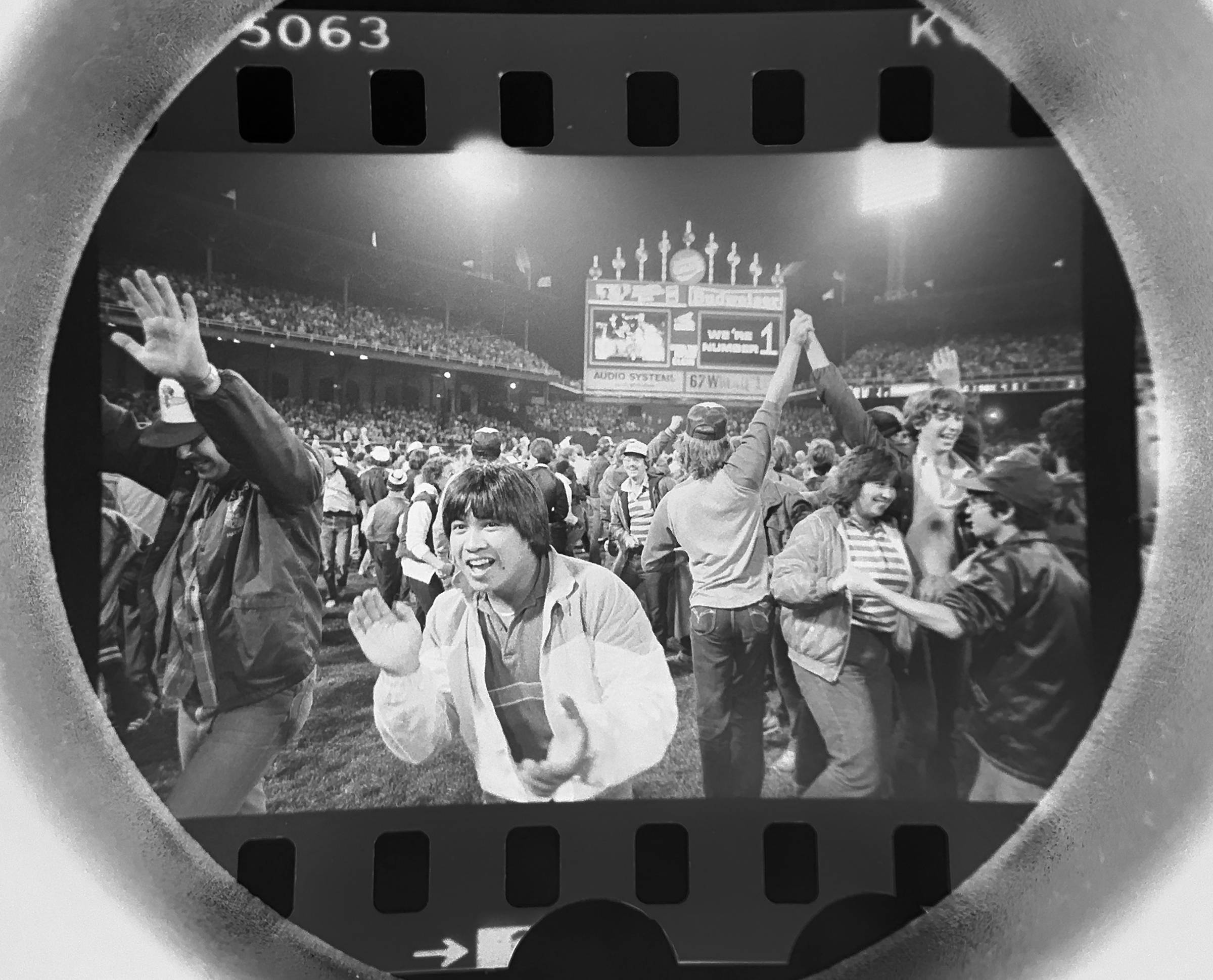 The Daily Herald archive, Assignment # 68,568, Bob Ringham photo: White Sox fans celebrate after the Sox clinched the American League West division in September of 1983.