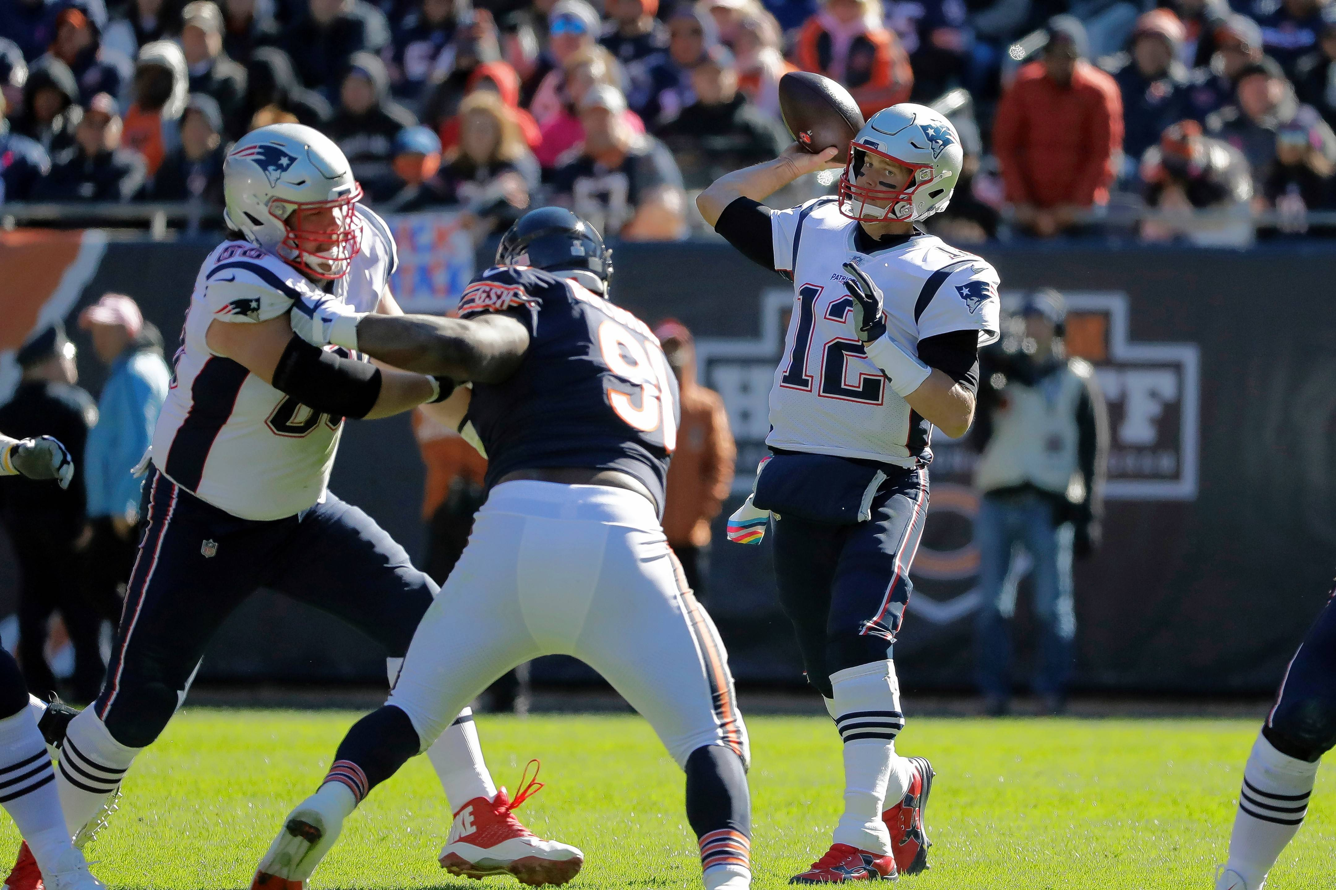 The Chicago Bears defense managed only one sack on New England Patriots quarterback Tom Brady on Sunday. Nine days ago, the Bears had the league's top sack percentage but have since dropped to seventh.