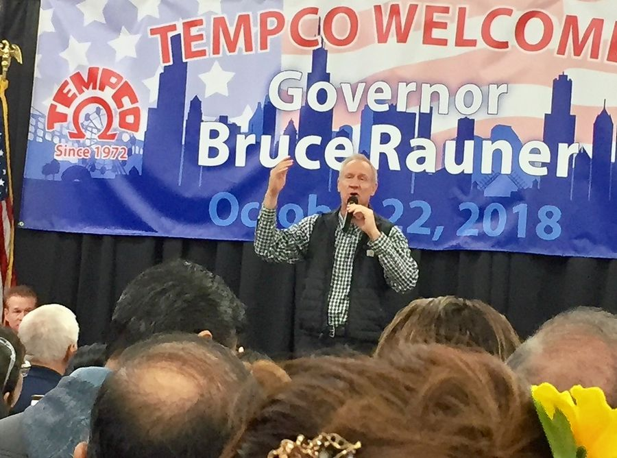 Gov. Bruce Rauner talks about job creation to workers at Tempco Electric Heater Corp. in Wood Dale Monday.