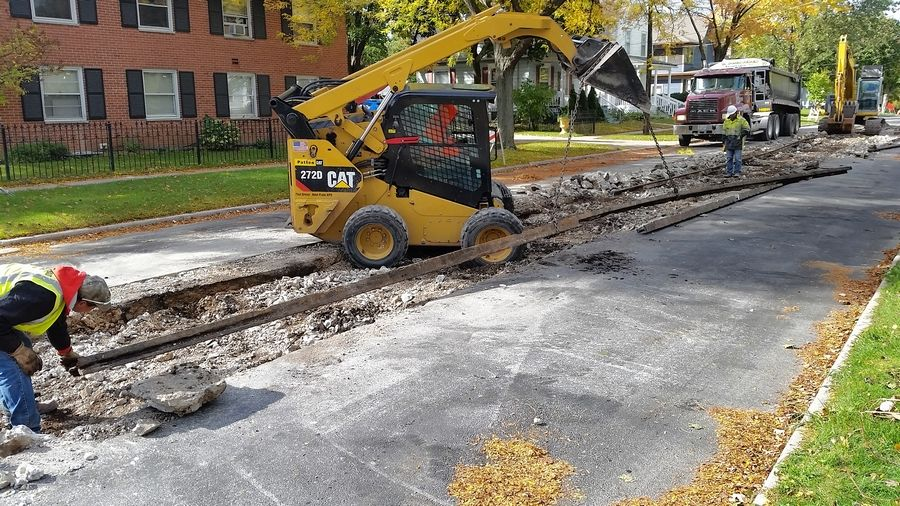 Streetcar tracks more than 100 years old were dug up recently during resurfacing work along Lovell Street in Elgin.