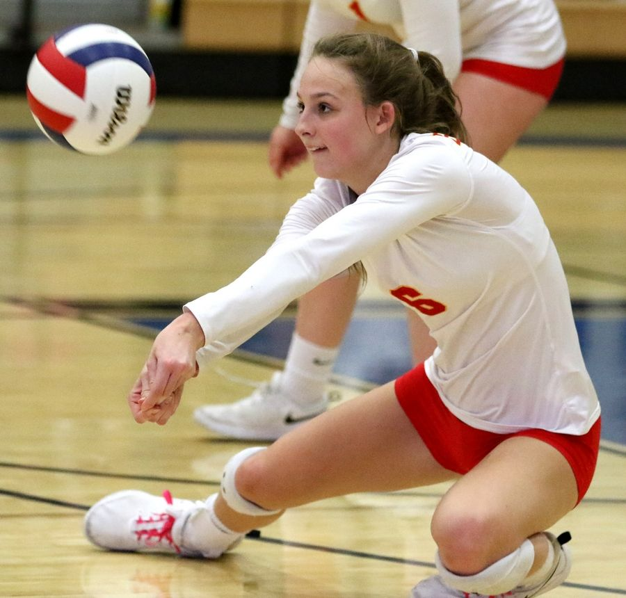Batavia's Maddy Boyer passes the ball against Geneva during regional play in varsity girls volleyball at St. Charles North Tuesday night.