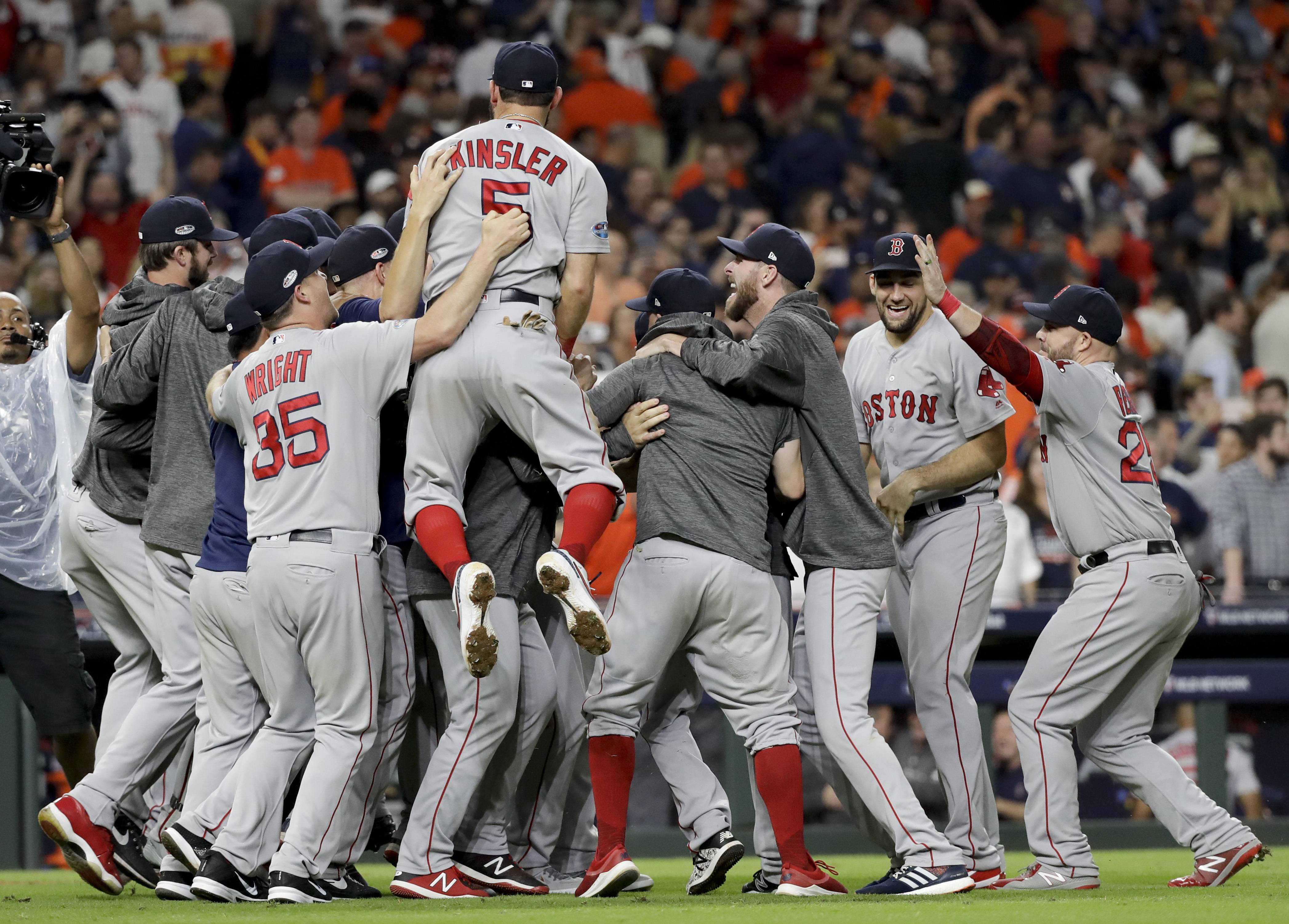 The Boston Red Sox, here celebrating after winning the American League championship series against the Houston Astros, were baseball's only real superteam this season. And even they have flaws.