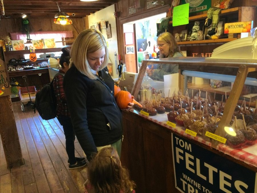 Jill Heinrich and her 3-year-old daughter check out the carmel apples at Sonny Acres' sale barn.