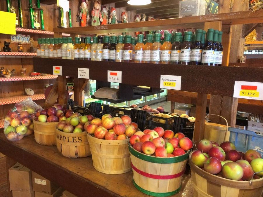 Baskets of fresh apples and apple cider are part of the seasonal concessions at Sonny Acres.