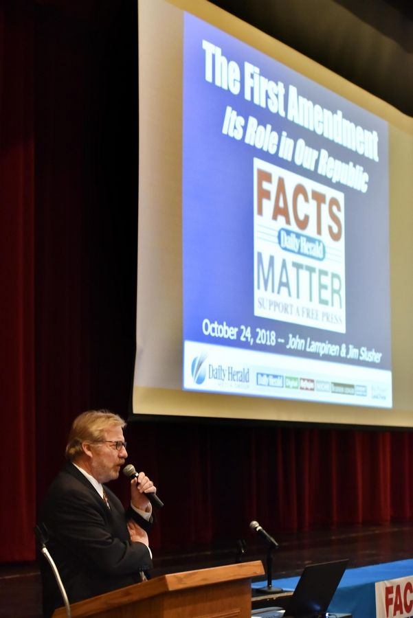 Daily Herald Editor John Lampinen discusses the First Amendment during the last of the newspaper's Facts Matter community conversations Wednesday at Forest View Educational Center in Arlington Heights.