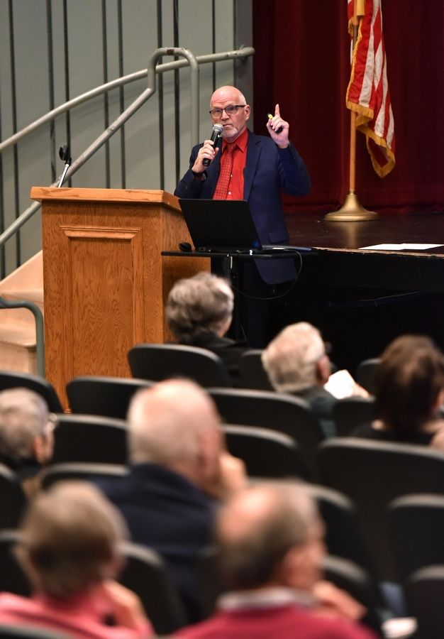 "Jim Slusher, the Daily Herald's deputy managing editor for opinion, shared statistics by the Freedom Forum Institute during a ""Facts Matter"" presentation about the First Amendment on Wednesday in Arlington Heights."