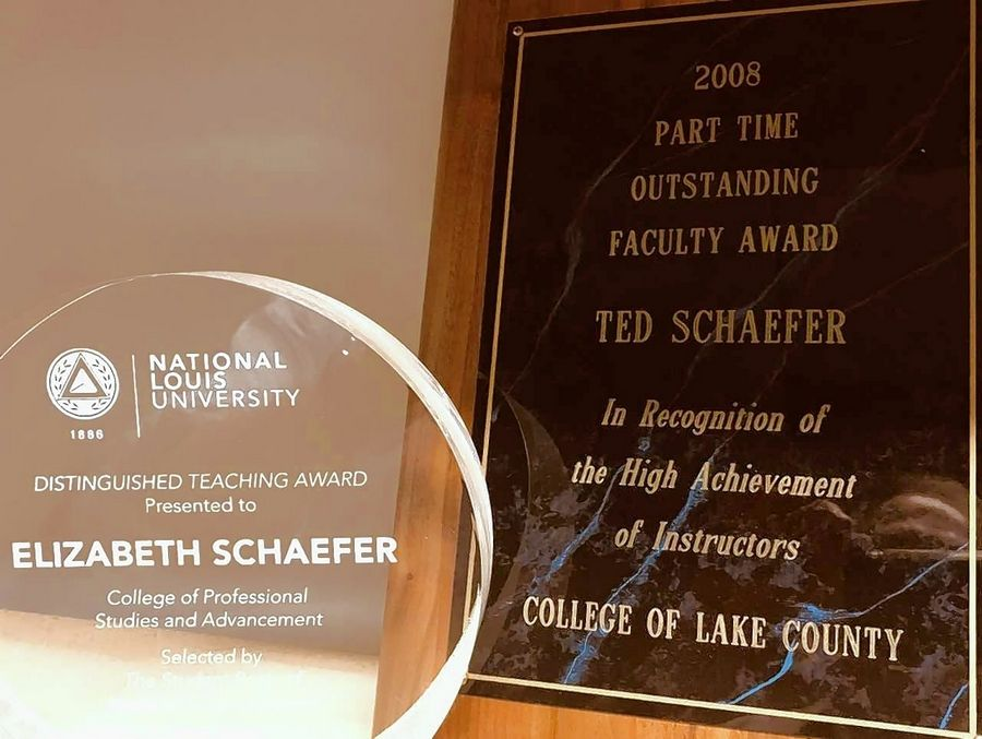 Following in the footsteps of her father, Ted Schaefer of Grayslake, author Beth Schaefer also won an outstanding teacher award.