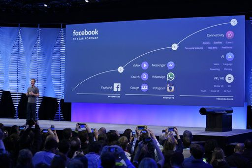 FILE- In this April 12, 2016, file photo, Facebook CEO Mark Zuckerberg talks about the company's 10-year roadmap during the keynote address at the F8 Facebook Developer Conference in San Francisco. Instagram along with Messenger and WhatsApp are serving as the social media giant's insurance policy for a future that might not be dominated by its flagship service.
