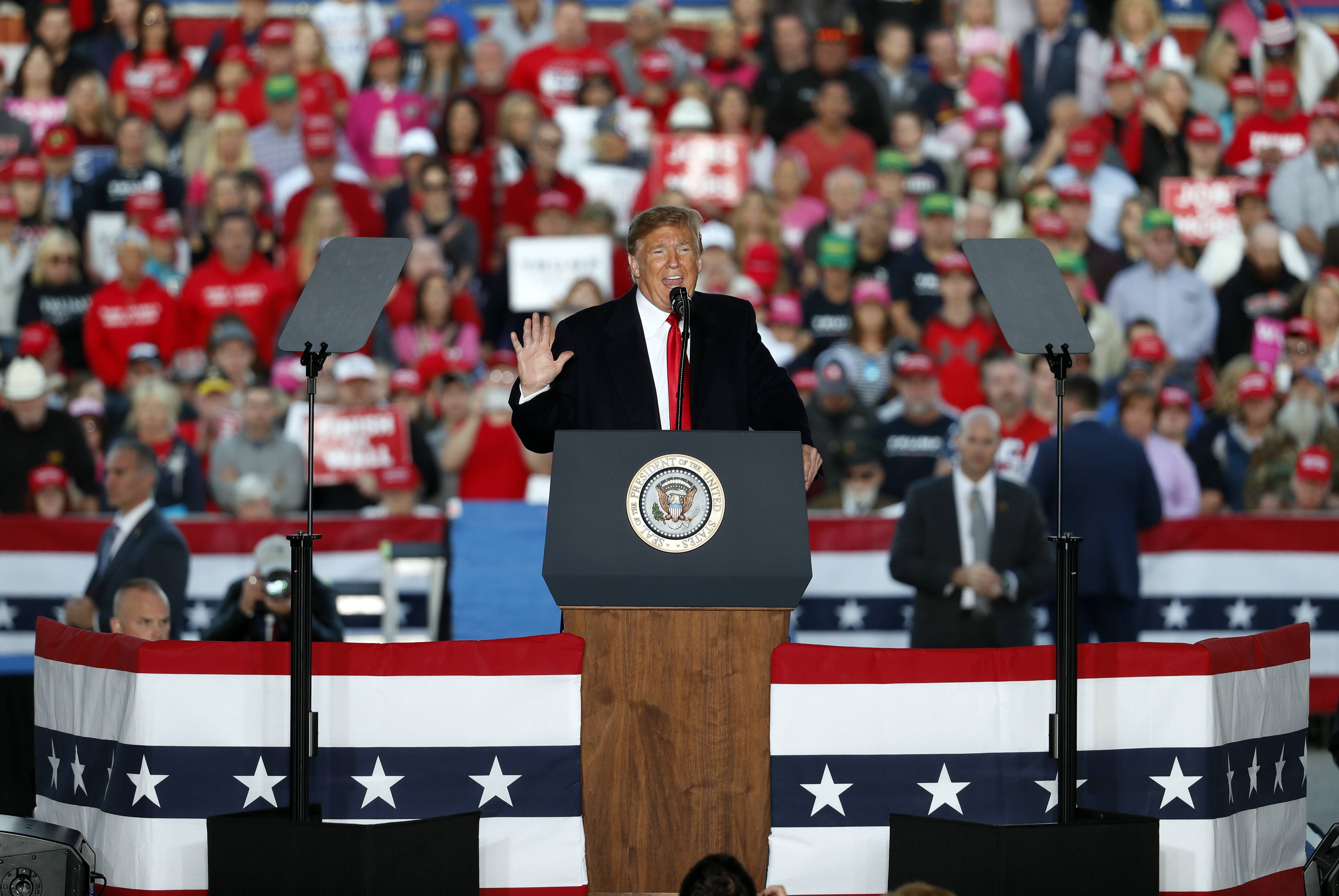 President Donald Trump speaks during a rally at Southern Illinois Airport Saturday in Murphysboro, Ill.