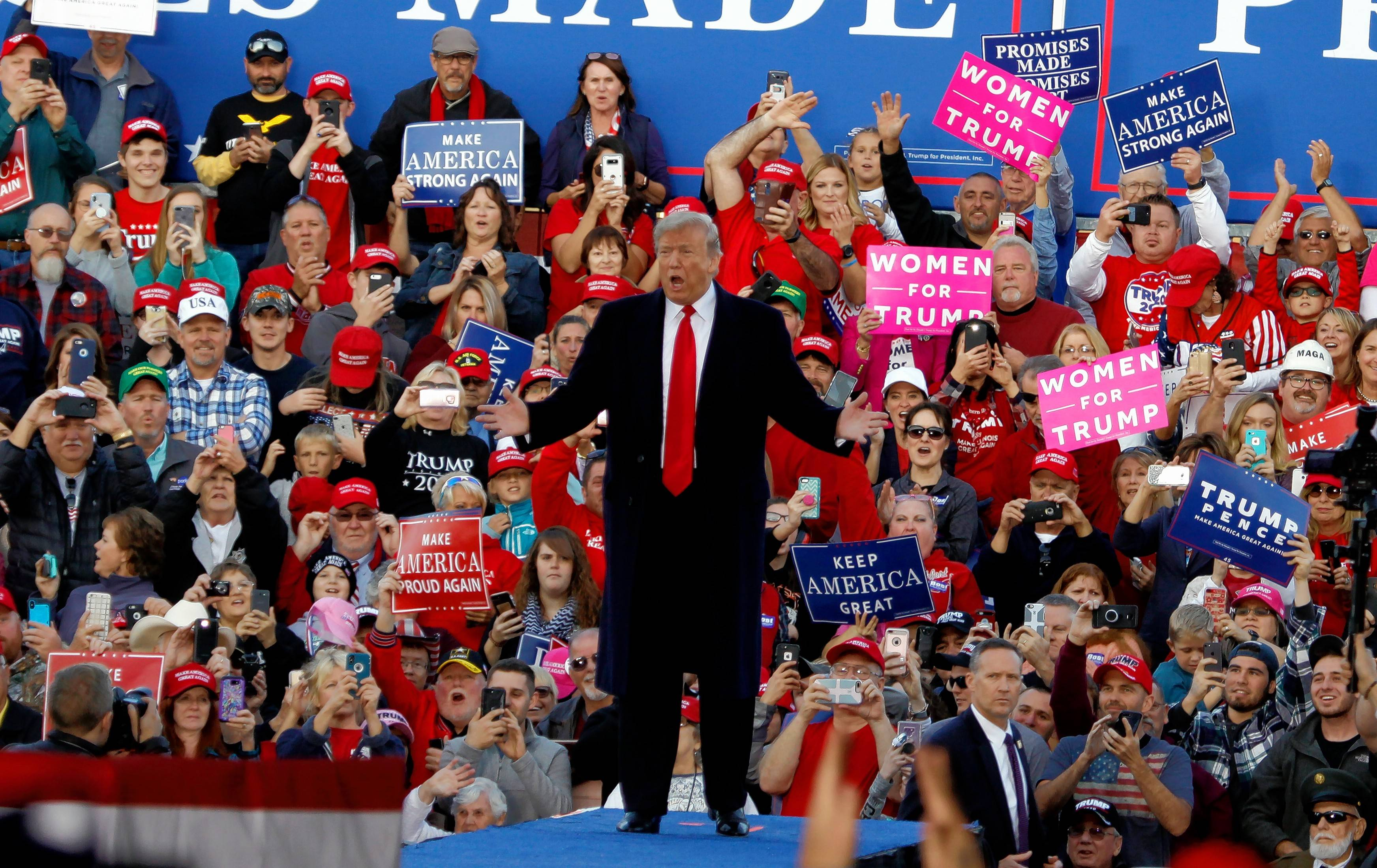 President Donald Trump speaks during a campaign rally Saturday afternoon at Southern Illinois Airport in Murphysboro. Trump's visit was part of an effort to shore up Republican support for incumbent Republican Congressman Mike Bost.
