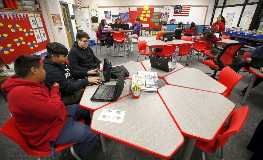 Seventh-graders at two Palatine Township Elementary District 15 schools, including Carl Sandburg Junior High School in Rolling Meadows, are testing new furniture and seating arrangements in an effort to boost student achievement.