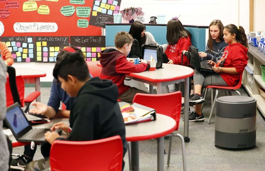 In an effort to boost student achievement, students at two Palatine Township Elementary District 15 schools, including Carl Sandburg Junior High School in Rolling Meadows, are testing new, more comfortable furniture and seating arrangements.