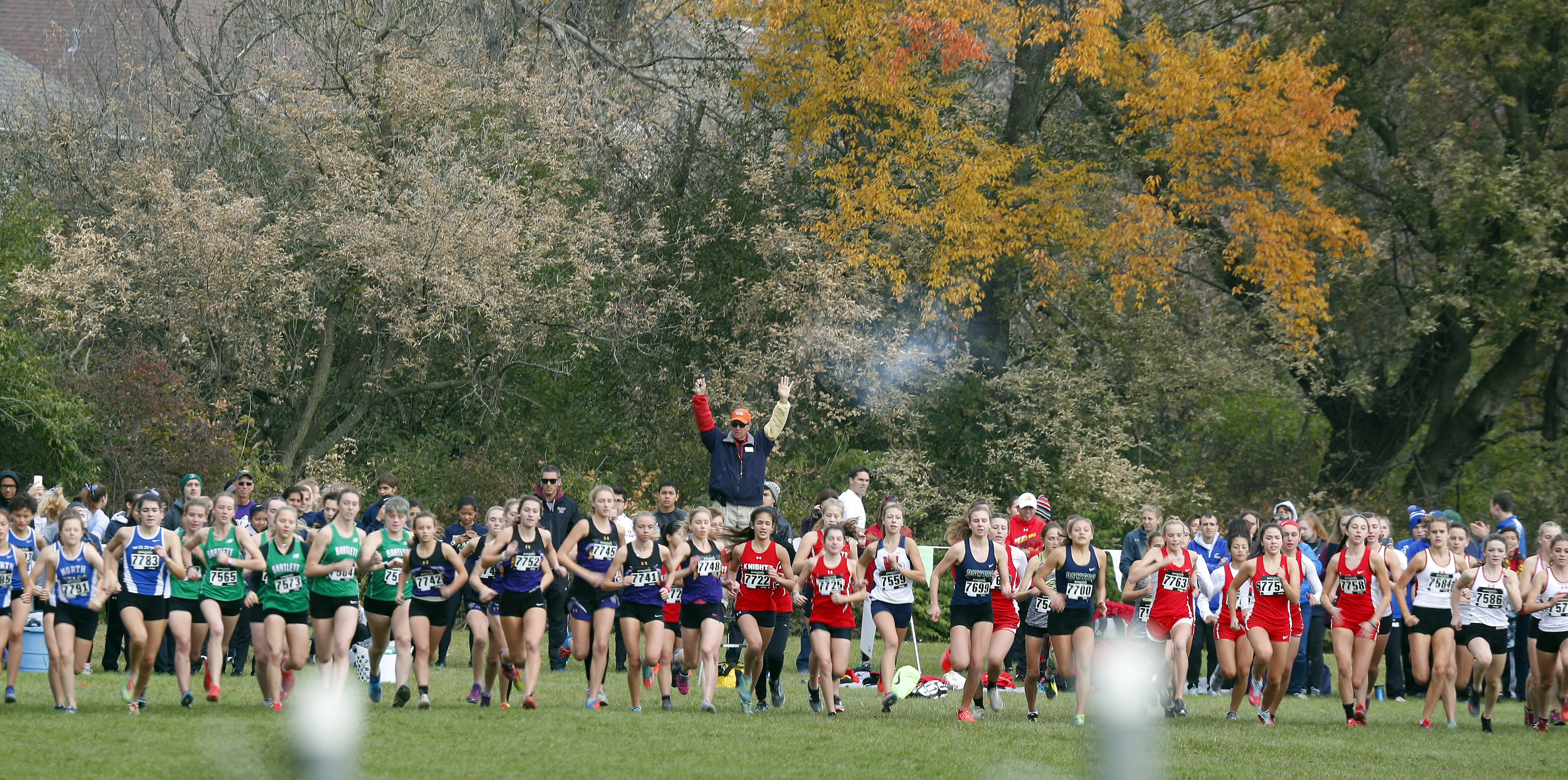 The start of the girls race Saturday during the Waubonsie Valley cross country sectional in Aurora.